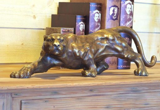 WI 8 Fine Cast Solid Bronze Sculpture Jaguar Hunting 1 | Avant Garden