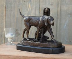 Fine Cast Bronze Sculpture Dog Pair Sitting and Standing