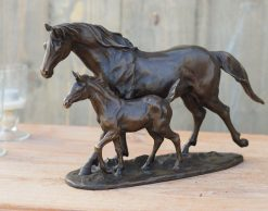 Fine Small Bronze Sculpture Statue Horse and Foal