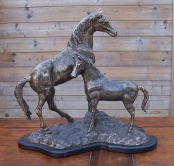 Fine Cast Bronze Small Trophy Horse & Foal Statue