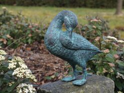 Fine Cast Bronze Sculpture Duck Preening Feathers Statue 21cm high