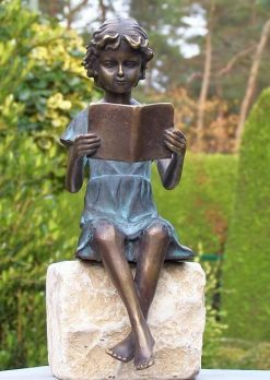 Fine Cast Bronze Sculpture Poetic Girl Figure