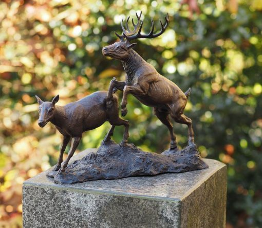Fine Bronze Sculpture of A Stag and Doe 1