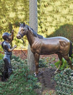 FIGI 23 Solid Bronze Girl & Pony Sculpture 1 | Avant Garden