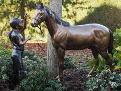 Bronze Sculpture Girl Horse Statue