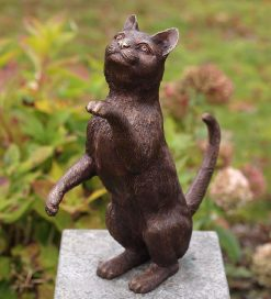Fine Cast Bronze Sculpture Cat Hind Legs