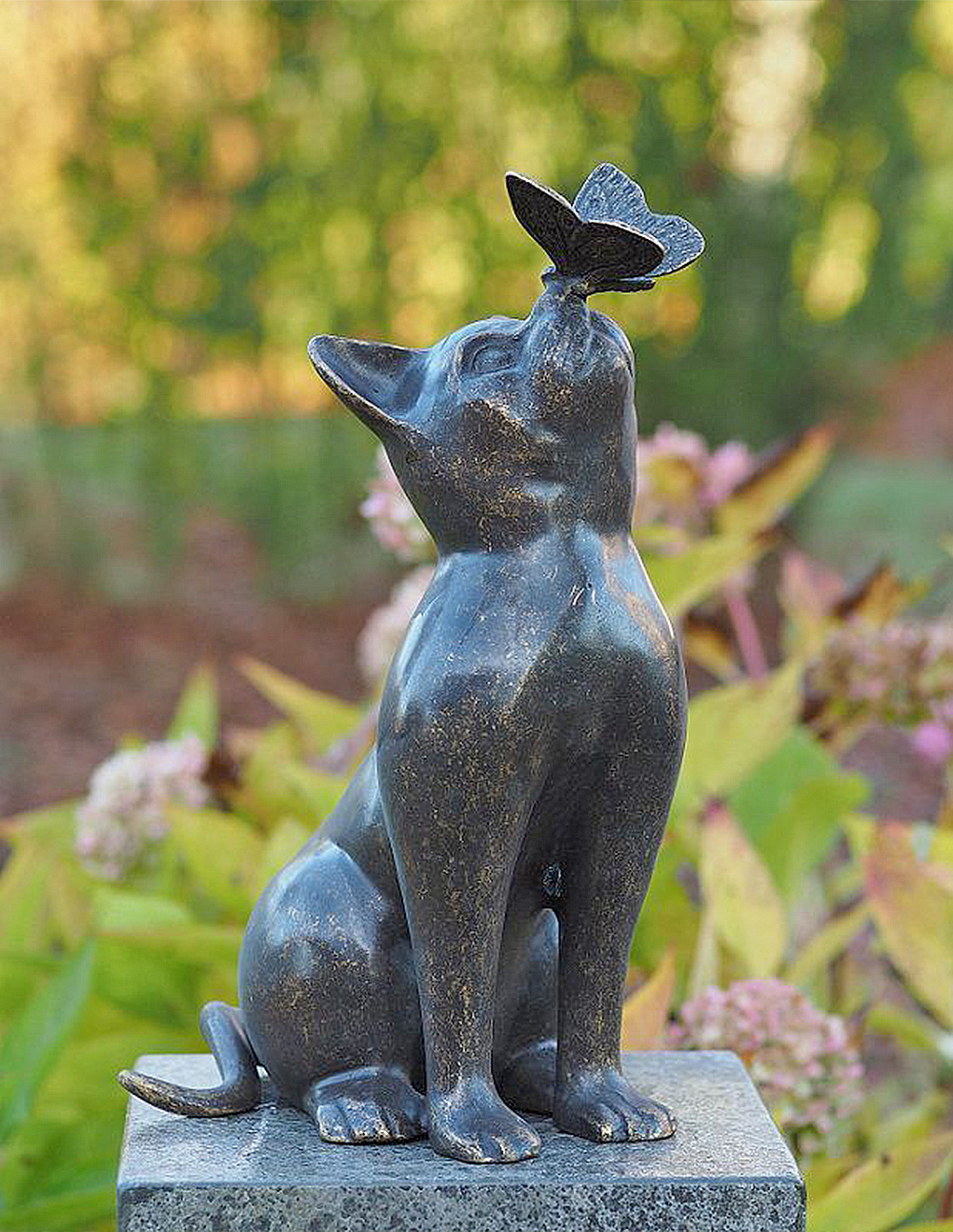 CA 2 Solid Bronze Cat Statue with Butterfly 1 | Avant Garden