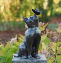 Bronze Sculpture Cat Butterfly Garden Ornament