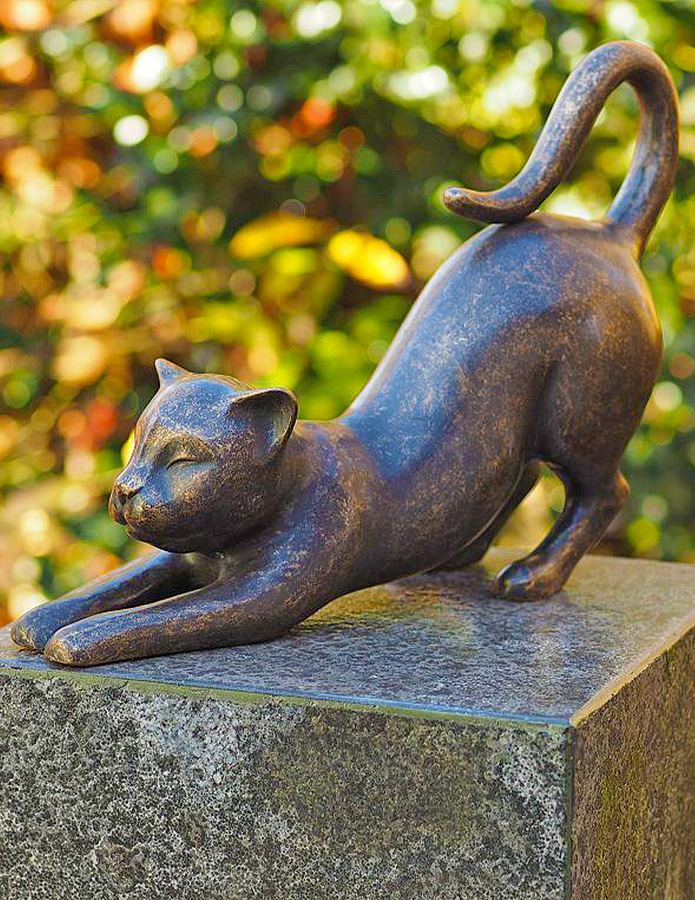 CA 10 Solid Bronze Cat Stretching Sculpture 1 | Avant Garden