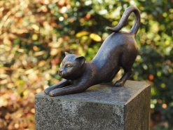 Bronze Sculpture Cat Stretching