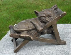Bronze Sculpture Cat Deck Chair