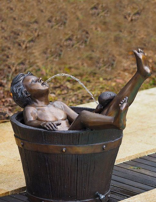FO 04 Solid Bronze Fountain Boy Barrel Sculpture Water Feature 1 | Avant Garden