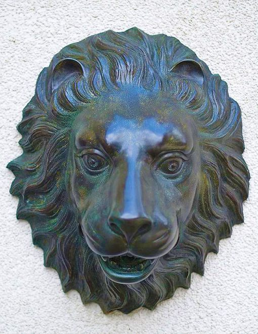 FO 36 Fine Cast Solid Bronze Wall Mounted Lions Head Fountain Sculpture 1 | Avant Garden