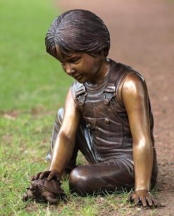 Bronze Sculpture Fountain Boy Tortoise