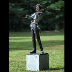 Fine Cast Bronze Sculpture Boy Violinist Statue