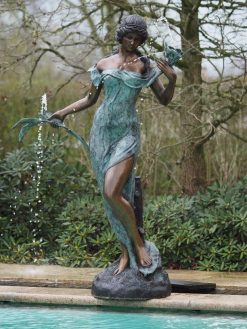 Fine Bronze Fountain Sculpture Woman Flowers