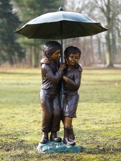 Bronze Sculpture Fountain Children Umbrella