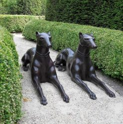 Fine Cast Bronze Guard Hounds Statues