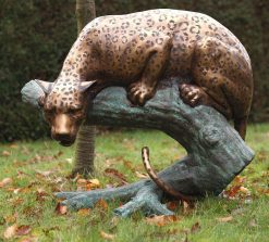 WI 14 Fine Cast Solid Bronze Sculpture Leopard Tree Trunk Statue 88cm high 1 | Avant Garden