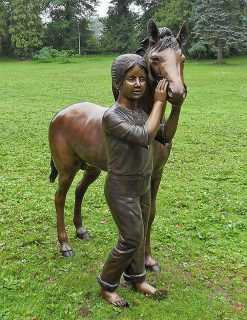 HO 6 Solid Bronze Pony & Girl Sculpture 1 | Avant Garden