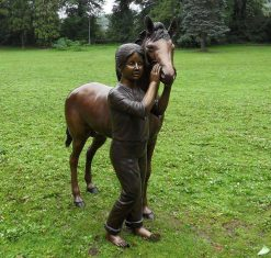 Bronze Sculpture Girl Pony