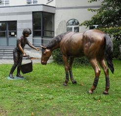 Fine Large Bronze Sculpture Statue Girl and Horse