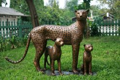Fine Cast Bronze Sculpture Cheetah Family