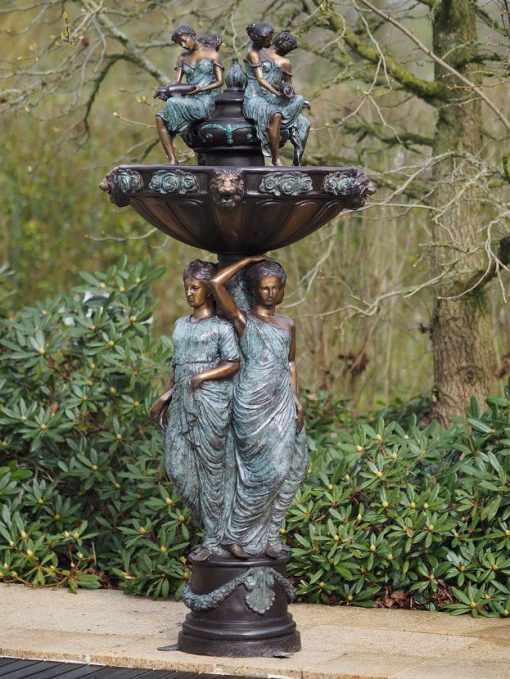 Large Fine Bronze Fountain Women Classic Water Feature 1