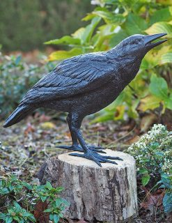 BI 18 Solid Bronze Young Crow Sculpture Bird 1 | Avant Garden