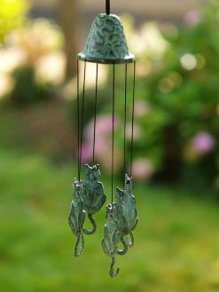 Fine Cast Bronze Wind Chime Cats
