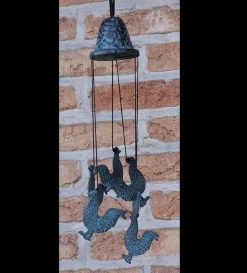 Fine Cast Bronze Wind Chime Rooster