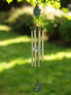 Fine Cast Bronze Wind Chime Sun and Moon