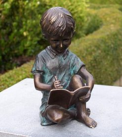 Fine Cast Bronze Sculpture Boy Drawing Statue