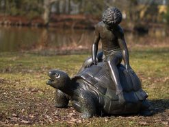 Fine Cast Bronze Fountain Sculpture Tortoise Boy