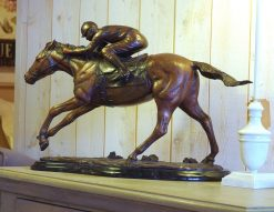 Bronze Sculpture Horse Jockey Trophy Sculpture Small