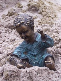 Fine Cast Bronze Sculpture A Boy with Car
