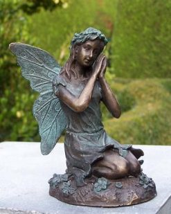 Fine Cast Bronze Fairy Kneeling down Sculpture