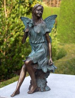 Fine Cast Bronze Fairy sitting with Flower Sculpture