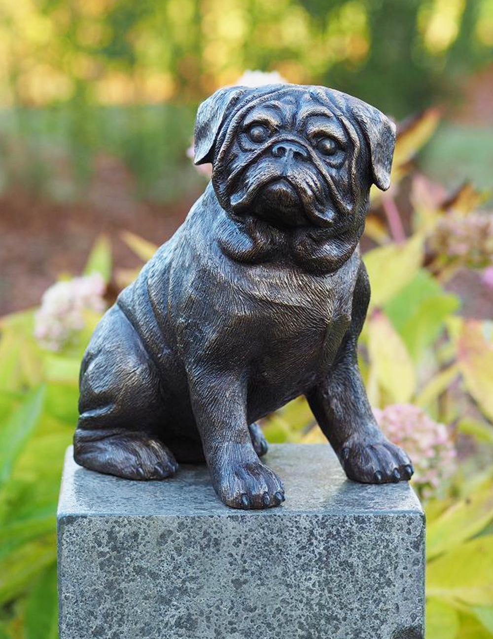 DO 12 Solid Bronze Pug Dog Sculpture Garden Ornament 1 | Avant Garden