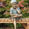 FIBO 11 Fine Cast Solid Bronze Boy with cap sitting Sculpture 1 | Avant Garden
