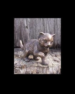 Fine Cast Bronze Sculpture Cat Standing
