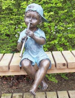 FIBO 7 Solid Bronze Fountain Boy Sitting Sculpture 1 | Avant Garden
