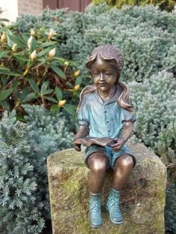 Fine Cast Bronze Girl Quietly Reading Sculpture