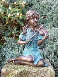 Fine Cast Bronze Sculpture Girl Playing Violin