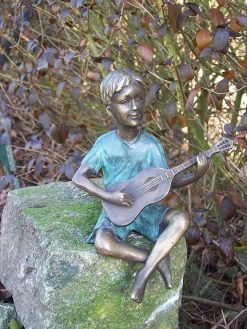 Fine Cast Bronze Sculpture Boy playing Guitar