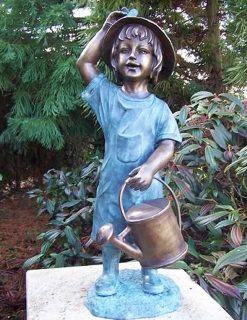 FIGI 26 Solid Bronze Fountain Girl Watering Sculpture 1 | Avant Garden