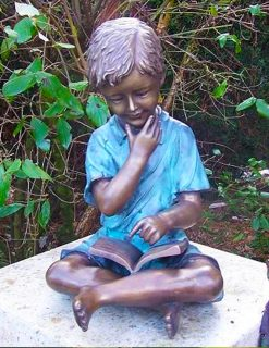 FIBO 6 Solid Bronze Boy Reading Book Sculpture 1 | Avant Garden