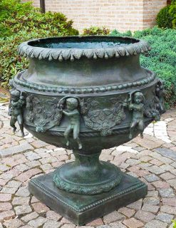 MI 30 Solid Bronze Sculpture Planter Vase Cherubs 1 | Avant Garden