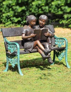 FIGI 1 Solid Bronze Young Girl & Boy Bench Sculpture 1 | Avant Garden