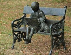 Fine Cast Bronze Sculpture Girl and Dog on Bench
